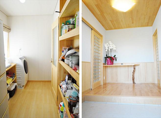 (左)洗濯からアイロン掛けもできる、パントリー兼家事室。(右)大容量のシューズクロークのあるすっきりした玄関。